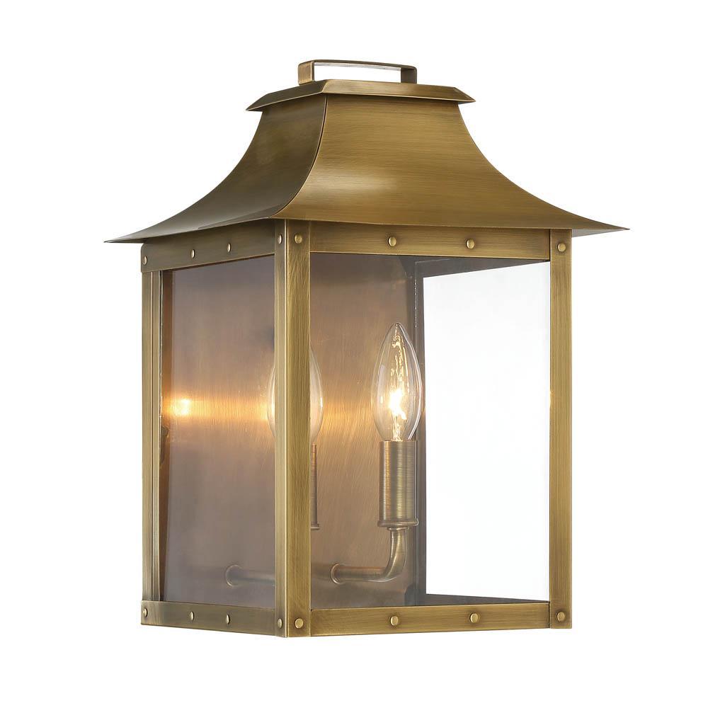manchester 2 light outdoor aged brass light fixture 27k2k