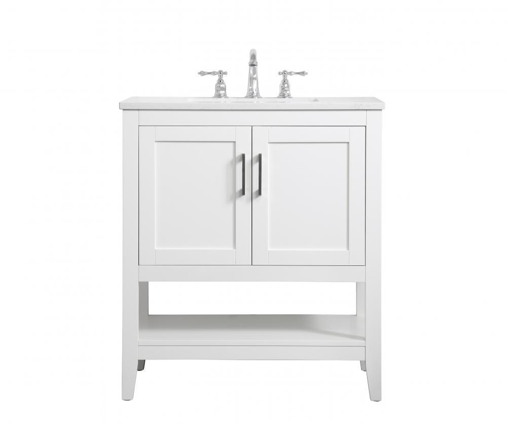 30 Inch Single Bathroom Vanity In White J45ev Timberlake Lighting Of Lynchburg